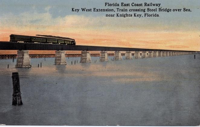 Florida East Coast Railway, Key West Extension. Train on the Seven Mile Bridge. Post card gift of Ramon Davis.